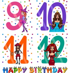 birthday cartoon design for girl vector image