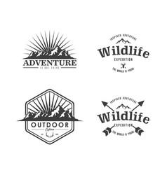 Black and white mountain explorer adventure logos vector