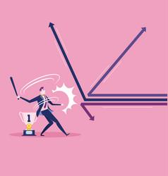 Businessman swinging baseball bat hit arrow vector