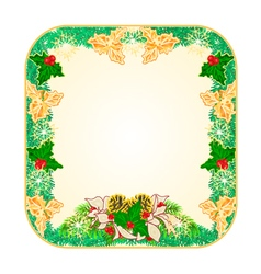 Button square Christmas Spruce with poinsettia vector image