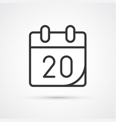 calendar flat line black icon eps10 vector image