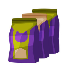 Cat food packaging pet animal dry canned food vector