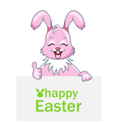 Cheerful rabbit with sheet of paper for happy vector