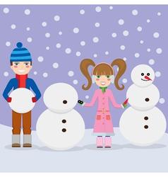 Children and snowmen vector