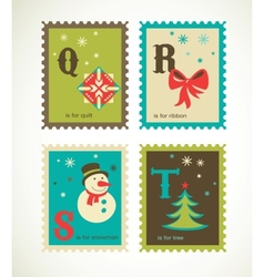 Christmas alphabet with cute xmas icons vector