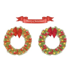 Christmas cartoon wreath with decarative elements vector