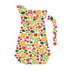 Collage fruits views pitcher vector