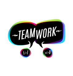 colorful bubbles with text teamwork vector image