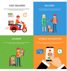 concept pictures set on theme of delivery service vector image vector image