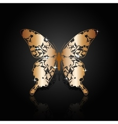 Copper abstract butterfly on black background vector