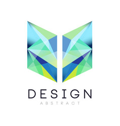Creative geometric icon in gradient blue and green vector