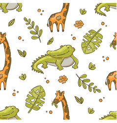 crocodile and giraffe hand drawn grunge seamless p vector image