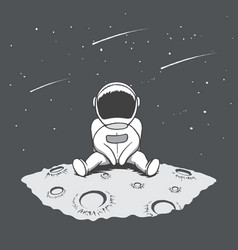 Cute astronaut sits on moon and looking to stars vector