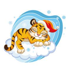 Cute cartoon tiger sleeping on a cloud vector