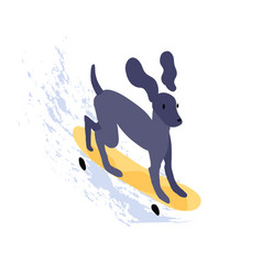 cute dog riding skateboard funny puppy skater on vector image