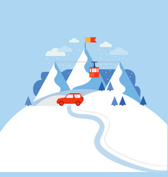 Design concept ski mountain vector