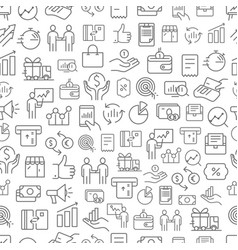 Different business app icons seamless pattern vector