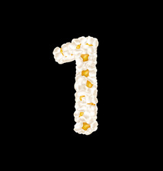 Digit 1 made up airy popcorn vector