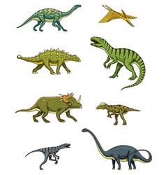 Dinosaurs set triceratops brontosaurus vector