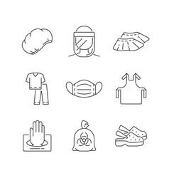 Disposable medical uniform linear icons set vector