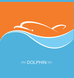 dolphin symbol on blue sea wave background vector image