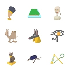 Egypt republic icons set cartoon style vector image