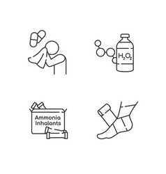 Emergency medication linear icons set vector