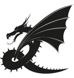 evil black dragon vector image
