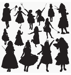 fairy-princes silhouettes vector image