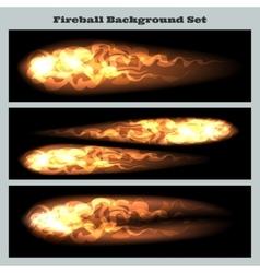 Fireball background set vector