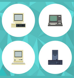 flat icon computer set of processor technology vector image