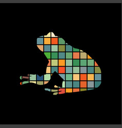 frog amphibian color silhouette animal vector image
