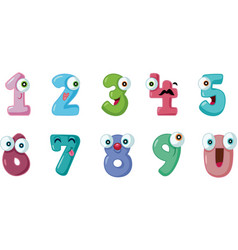 funny cartoon numbers set collection vector image