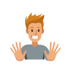 Funny young man making hands gesturing vector