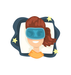girl sleeping in mask in her bed at night vector image