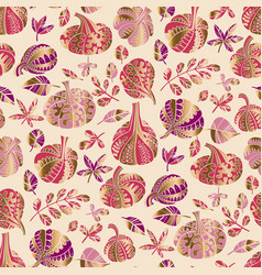 Glamor ornamental autumn pumpkin seamless pattern vector