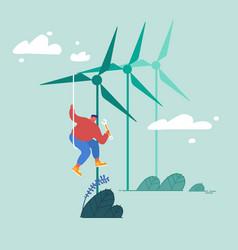 Global warming concept worker doing maintenance vector