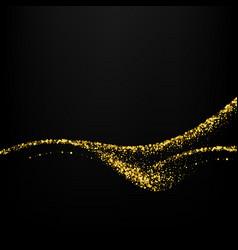 gold glitter confetti wave on black vector image