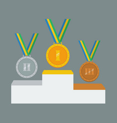 gold silver and bronze medals on white pedestal vector image