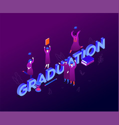 Graduation concept - modern colorful isometric vector