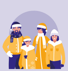 group of family with clothes christmas vector image