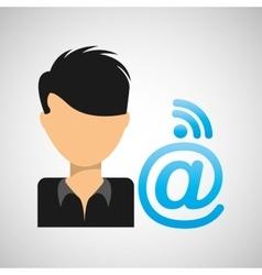 guy cartoon wifi mail vector image
