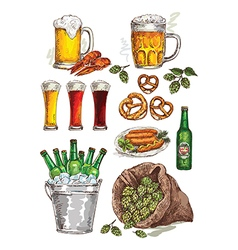 Hand drawing beer set vector