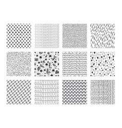 Hand drawn textures ink brush patterns with vector