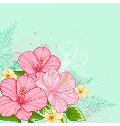 Hand drawn tropical flowers vector