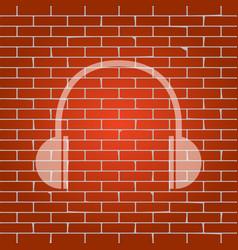 headphones sign whitish icon vector image