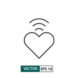 heart icon with signal bar outline style eps 10 vector image