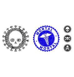 Infectious collage mortal virus icon vector