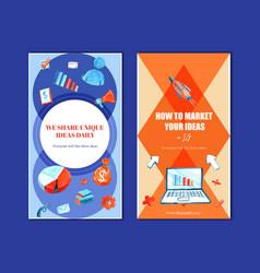 Instagram design template with megaphone laptop vector