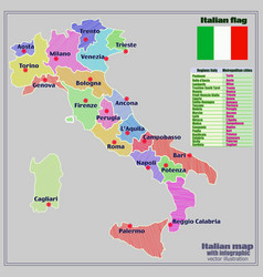 Large Map Of Italy With Regions.Italy Map With Italian Regions And Infographic